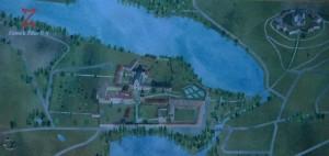 Schéma kláštera / zámku s Poutním kostelem sv. Jana Nepomuckého na Zelené hoře v pravém rohu