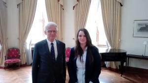 Klára Odstrčilová a pan Hansjörg Haber, chargé d´affaires a. i. na německém velvyslanectví v Praze 18.4. 2017.