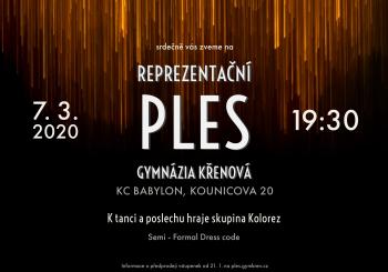 Reprezentační ples Gymnázia Křenová – 7. 3. 2020