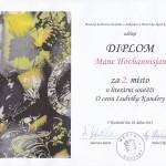 diplom za 2. místo