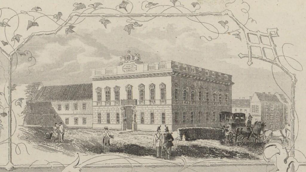 Část veduty s budovou cukrovaru Johanna Putterlika v roce 1852 (autor: Reschka, technika: oceloryt). Časové určení podle Zeitschrift des Mährischen Landesmuseums. VIII. Band. Brünn: R. M. Rohrer, 1908.