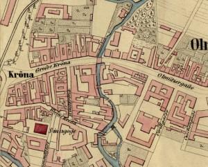 Výřez z Doležalova situačního plánu města Brna 1:5760 z roku 1858 se starým pojmenováním ulic –  Olmützergasse s budovami cukrovaru ve správě akciové společnosti.