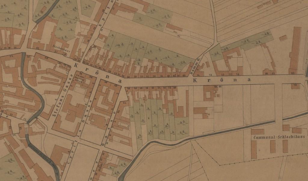 Výřez z mapy Brna z roku 1885, kdy už na Křenové 36 sídlila I. česká státní reálky. Zdroj: SCHMIGMATOR, Karl. Situationsplan der Landeshauptstadt Brünn [Měřítko 1:2 880]. Brünn: Verlag von C. Winkler's Buchhandlung (Winkler & Wehowski), 1885.
