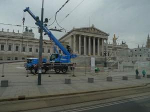 Historická budova rakouského parlamentu se opravuje.